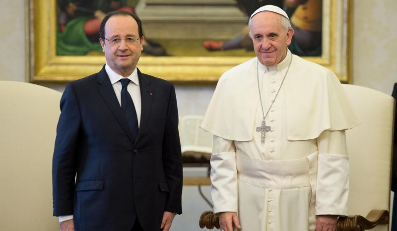 Pope Francis meets with French president Hollande