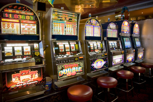 Row of slot machines on cruise ship