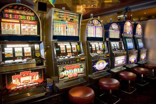 Row of slot machines on cruise ship